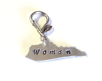 Silver Kentucky State Pendant, Kentucky Woman Purse Charm, Key Fob, Gift for Her