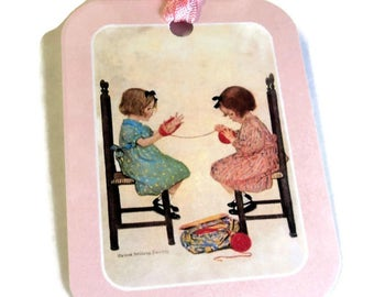 2 Gift Tags, 2 Vintage Girls Winding Yarn, Pink White Red Brown handmade hang tags, Party Favor Tags