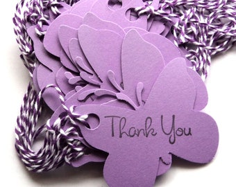 36 Tags, Gift Tags, Thank You, Merchandise,  Purple, Butterflies, Party Favor Tags, Hang Tags