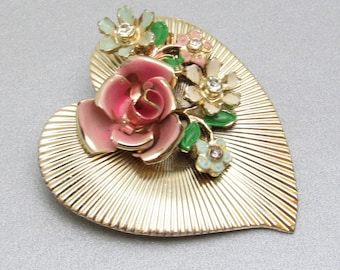Large Heart Brooch Enamel Flower Vintage Jewelry P7563