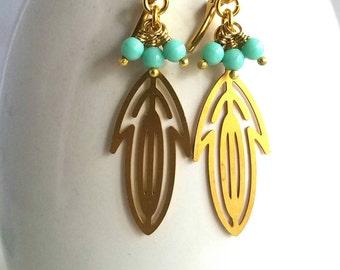 Golden Scroll Earrings, Feather Dangles, Turquoise Czech Glass, Bohemian, Boho, Under 30