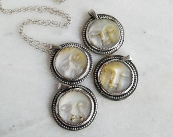 Mother of Pearl Moon Face Pendant, Sterling Silver Necklace, Ocean, Celestial, Carved Shell
