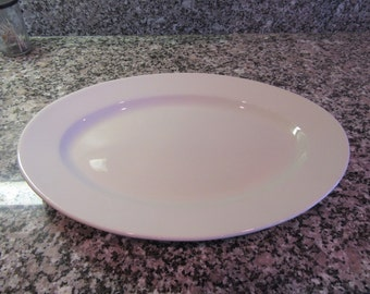 Large white ironstone platter by Homer Laughlin- circa 1940s- excellent condition with no visible defects