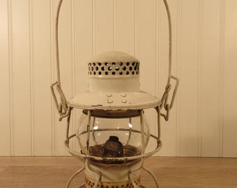 Adlake Kerosene Railroad Lantern- white- solid, beautiful, minimal wear