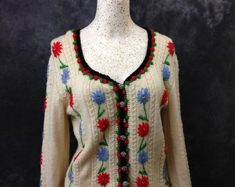 Hand knit floral Nordic style cardigan Large XL