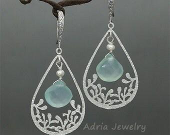 Sea Foam Green Chalcedony Earrings Teardrop Earrings Pale Green Gemstone Earrings Fresh Water Pearls Teardrop Dangle Earrings in Silver tone