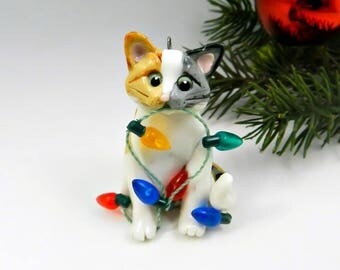 Cat Calico Tabby Christmas Ornament Figurine Lights Porcelain