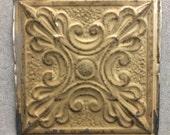 """Antique 1890s Tin Ceiling Tile Panel Mocha 12""""x 12"""" 519-16"""