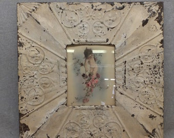 TIN CEILING Picture Frame Beige 8x10 Shabby Recycled chic 11-16