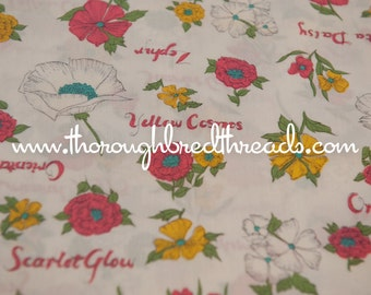 Flowers and Names - Vintage Fabric Mod Juvenile New Old Stock Garden Wildflowers
