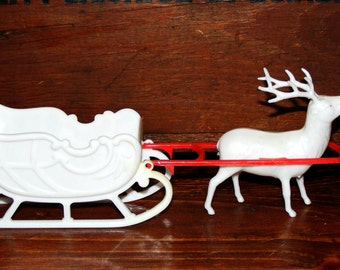 Vintage  Plastic Irwin Reindeer and Sleigh Holiday Decoration