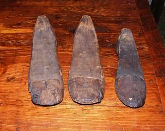 Antique Rustic Wood Shoe Mold Last Form Lot of 3 Graduated Set