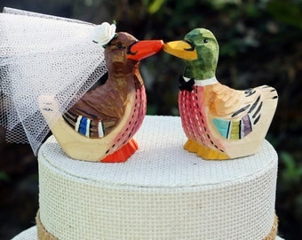 Mallard Wedding Cake Topper:  Handcarved, hand painted Wooden Bride and Groom Duck Cake Topper