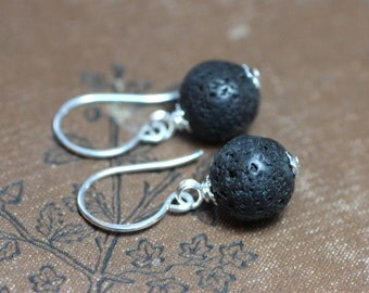 Black Lava Stone Earrings Silver Rough Black Earrings Rustic Jewelry