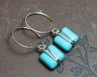 Sale Turquoise Magnesite Earrings Silver Wire Wrapped Gemstone Earrings Blue Earrings