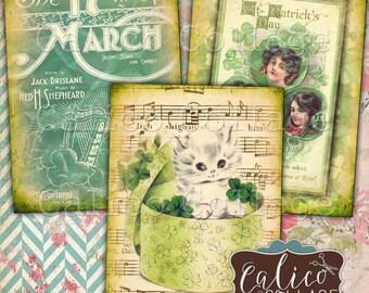 Printable Green Ephemera Digital Collage Sheet, St Patricks Day, Printable Tags, Vintage Images, Card Making, Junk Journals, Journal Cards