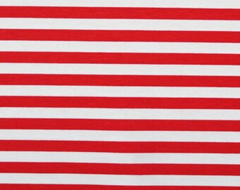 "Red stripes 1/2"" 1 yard cotton lycra knit CL"