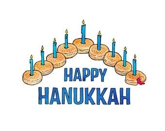 Sufganiyot Hanukkah - jelly donut, Chanukah, humorous, whimsical, pen and ink, digital, funny, humor
