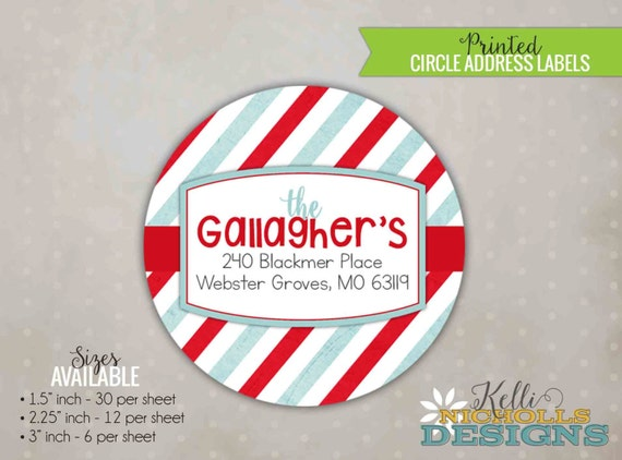 Modern Striped Red and Light Blue Personalized Christmas Return Address Label Stickers