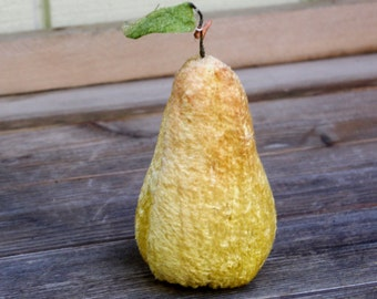 Vintage Velvet Fruit Pincushion Pear