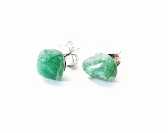 Raw Green Aventurine Earrings - Healing Crystal Earrings - Raw Stone Earrings - Asymmetrical Stud Earrings- Mens Earrings - Mens Crystal