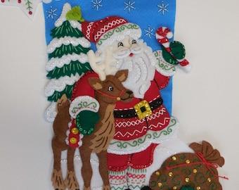 Finished Christmas Stocking - Nordic Santa