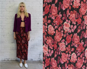 vintage 90s chintz accordion pleat skirt / ribbed bodycon rose print maxi skirt / 1990s grunge floral skirt
