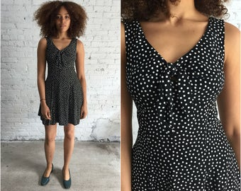90s black and white polka dot mini dress / 1990s grunge babydoll dress