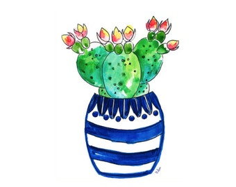 Cactus Art Print, Watercolor Blue Chinoiserie Art Print, Giclee, Blue Chinoiserie Wall Art, Blue and White Art, Blue and W