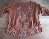 Vintage 1920s Beaded Blouse - Flowers - Brown