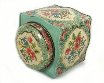 Vintage Turquoise Daher Metal Tin- Gorgeous Flowers with Gold Trim and Detailing, 8 sided