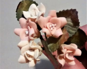FF-129 Pink and Cream  Polymer Clay Roses