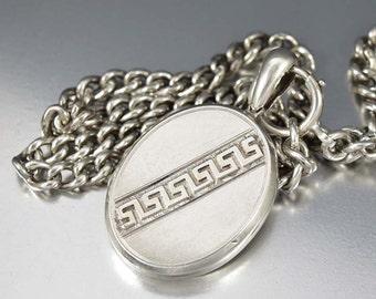 Antique Sterling Silver Locket, Greek Key Photo Locket, Victorian Locket Pendant, Oval Engraved Locket, Love Wedding Keepsake Photo Locket