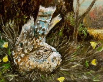 "Oil Painting, Bird in Nest, Original Art, 8""x10"""