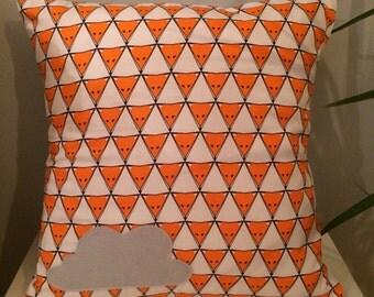 Fox Orange & White Organic Cotton with Applique Cloud Cushion