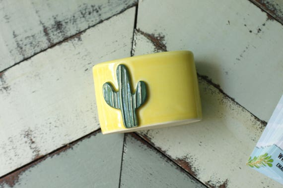 Cactus vertical business card holder in yellow