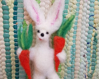 Waldorf Needle Felted Rabbit with 2 carrots, Bunny soft sculpture, posable toy, Steiner toy, orange and white, rabbit baby shower, felted