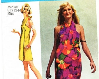 1970's Wrap Dress Pattern UNCUT size 12 14 Medium UNCUT 2 Lengths Wrap Around Dress Pattern, Vintage Sewing Pattern