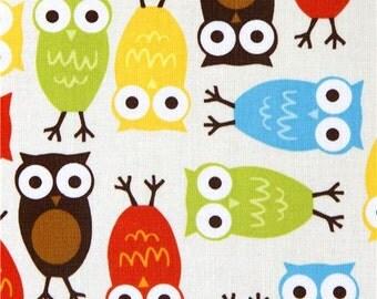 169042 kawaii cream owls fabric by Robert Kaufman