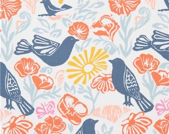 215038 off-white with dark blue bird orange flower fabric Moda Fabrics