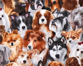 215100 brown grey with funny dogs Dog Breeds fabric by Elizabeth's Studio