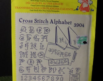 Vintage Aunt Martha's Hot Iron Transfer 3904 Cross Stitch Alphabet