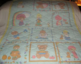 Baby Precious Moments 12 Month Calendar with 12 Different Precious Moments Children Reversible Baby/Toddler Cotton Quilt- NEWLY MADE 2017