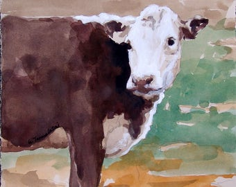 Brown cow Print 8.5 x 11 paper size white faced cow PRINT of original watercolor painting cow art landscape art Cow painting Cow print Cow
