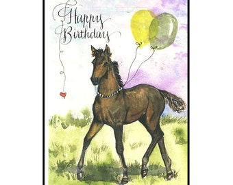 Watercolor Horse Birthday Card with Balloons and Calligraphy