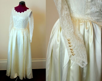 40s 50s liquid satin and lace wedding gown as-is