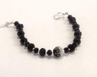 Black or White Crystal glass bracelet