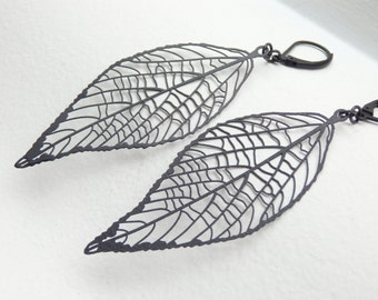 LEAF Matte Black Earrings