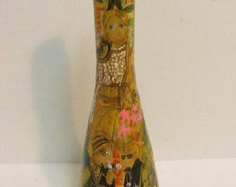 Decoupage  Love Bottle, Groovy Mod Hippie Folk Art, Vintage 70s Yellow Glass Bottle Art