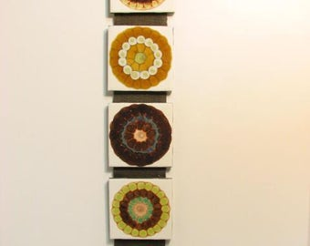 Vintage Tile Wall Hanging Psychedelic  Abstract Tiles on Canvas Strip Mid Century Mod Wall Art
